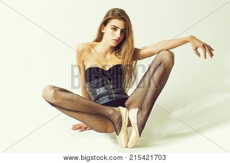 Sexy Ballerina Girl At Window