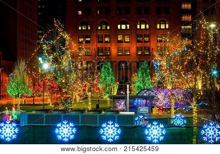 CLEVELAND OH - DECEMBER 30 2016: Festive Christmas lighting brings color and holiday spirit to Cleveland's Public Square.