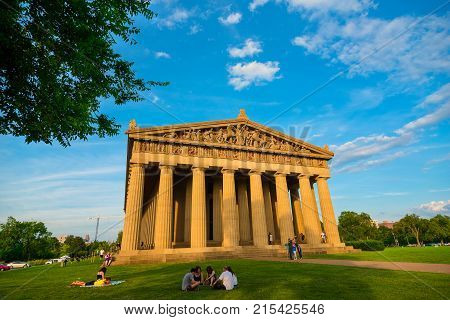 NASHVILLE TN - AUGUST 20 2017: Built in 1897 for Tennessee's Centennial Exposition this full-scale replica of the ancient Parthenon in Athens is the centerpiece of the city's Centennial Park.