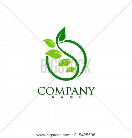 circle green leaf ecology nature element vector icon. leaf logo and abstract organic leaf logo.