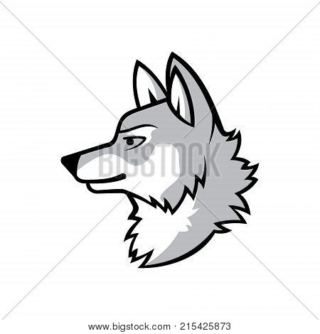 Wolf silhouette. Vintage wolf face logo emblem template for business or t-shirt design concept. Vector wolf Vintage Design Element. Wolf logo. Wolf icon. Black silhouette wolf. Vector illustration EPS.8 EPS.10