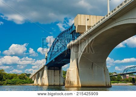 The Market Street Bridge or John Ross Bridge over the Tennessee River in Chattanooga