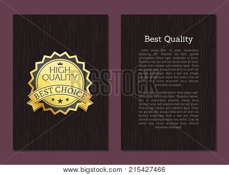 Best high quality award choice vector illustration banner on wooden dark backdrop and place for text poster with golden label and three stars