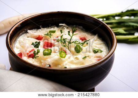 Radish Raita daikon or Mooli Koshimbir is a condiment from the Indian subcontinent, made with dahi or curd together with raw or cooked vegetables like radish, tomato, green chili and coriander