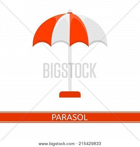 Vector illustration of parasol isolated on white background. Sunshade in flat style. Beach umbrella. Vacations and camping equipment.