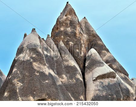 Volcanic Rock Formations In Cappadocia, Anatolia, Turkey. Goreme National Park.