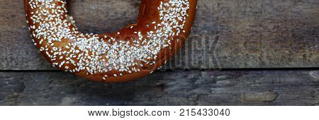 American Traditional Bagel Closeup On A Wooden Table.