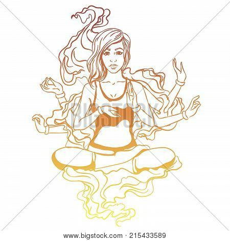 Vector illustration of a yoga girl in a lotus pose. The girl is engaged in yoga reaches enlightenment. Four-armed goddess entrance to catharsis.