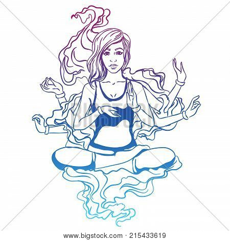 Vector illustration of a yoga girl in a lotus pose. The girl is engaged in yoga reaches enlightenment. Four-armed goddess entrance to catharsis. poster