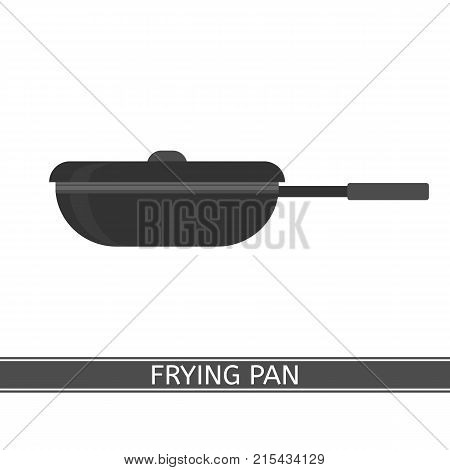 Vector illustration of frying pan isolated on white background. Camping equipment for cooking. Frypan with lid in flat style.