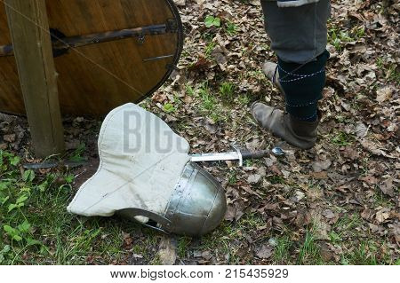 Old Shield With Sword And Helmet