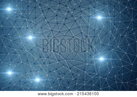 3D Illustration, Abstract background. Concept neural network and cloud computing. Geometry with connections lines and points that can represent cloud computing or internet connections.
