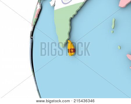 Flag Of Sri Lanka On Political Globe