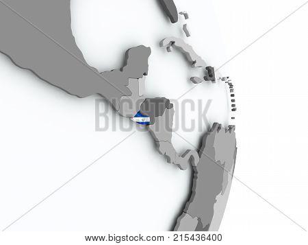 Map Of El Salvador With Flag