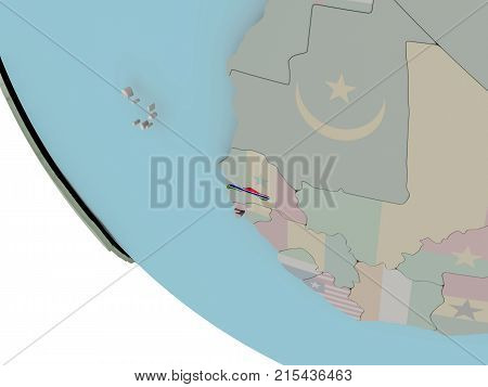Gambia With Flag Illustration