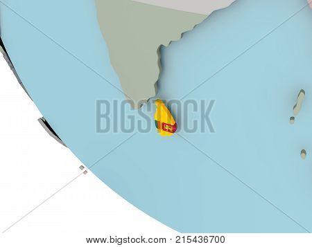 Sri Lanka With Flag Illustration