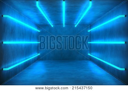 3D Illustration Abstract blue room interior with blue neon lamps. Futuristic architecture background. Box with concrete wall. Mock-up for your design project