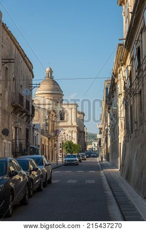 Noto, Italy - September 01, 2017: Chiesa del Santissimo Crocifisso (Church of the Crucifix) in Noto city in Sicily