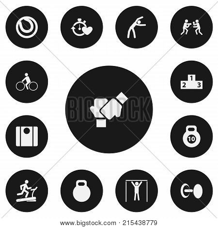 Set Of 13 Editable Active Icons. Includes Symbols Such As Bicycle Rider, Game Ball, Gauntlet And More