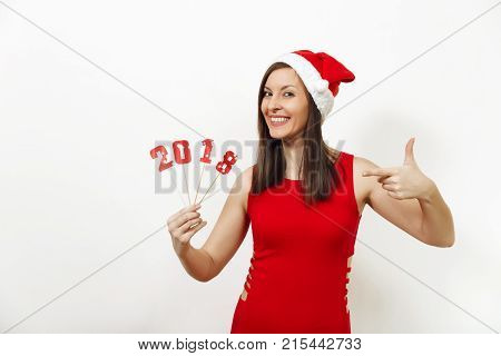 Beautiful Caucasian Young Happy Woman With Healthy Skin And Charming Smile In Red Dress And Christma