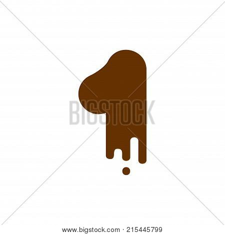 Number 1 Chocolate Font. Sweetness Numeral One Alphabet. Liquid Lettering Figure. Sweet Viscous Abc