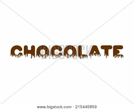Chocolate Liquid Lettering Sign. Sweetness Alphabet. Sweet Viscous Abc Sign