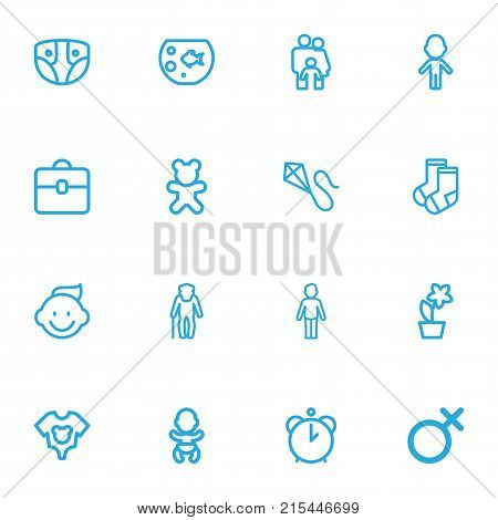 Set Of 16 Editable Kin Outline Icons. Includes Symbols Such As Dress, Clothes, Girl And More