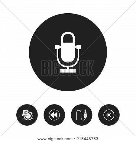Set Of 5 Editable Media Icons. Includes Symbols Such As Cd, Backward, Phonogram And More