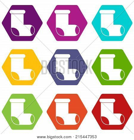 Felt boot icon set many color hexahedron isolated on white vector illustration