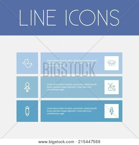 Set Of 6 Editable Folks Outline Icons. Includes Symbols Such As Velocipede, Fasten, Girl And More