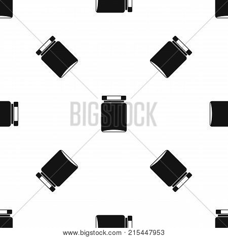 Jar pattern repeat seamless in black color for any design. Vector geometric illustration