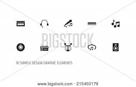 Set Of 10 Editable Audio Icons. Includes Symbols Such As Audio Bass, Karaoke, Tape And More