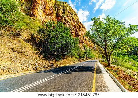 Highway R36 at the Abel Erasmus Pass as it goes through the Drakensbergen in Limpopo Province in northern South Africa