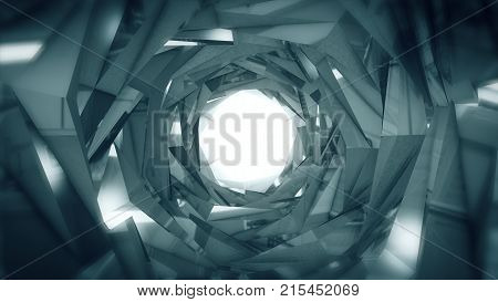 Abstract Technology Tunnel. Silver Metal Concstruciton Sharp Corners With Reflections The Camera Rot