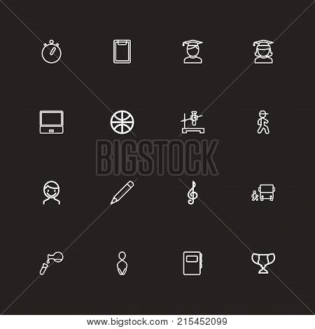 Set Of 16 Editable Education Outline Icons. Includes Symbols Such As Pencil, Notebook, Sport And More