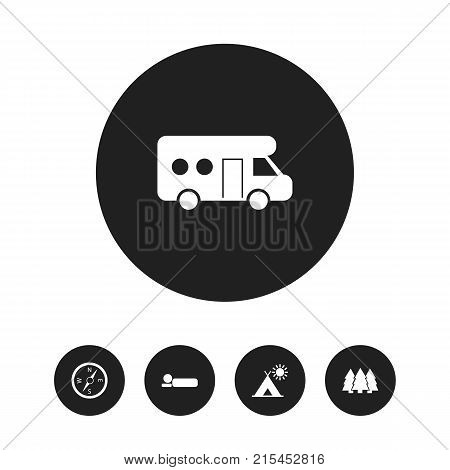 Set Of 5 Editable Travel Icons. Includes Symbols Such As Bedroll, Pine, Caravan And More