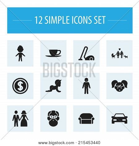 Set Of 12 Editable Relatives Icons. Includes Symbols Such As Greenback, Tea, Boy And More