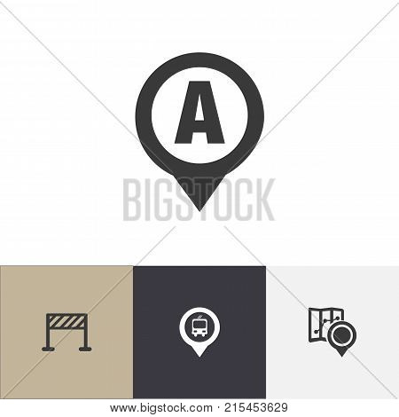 Set Of 4 Editable Navigation Icons. Includes Symbols Such As Marker, Car Location, Street Construction And More