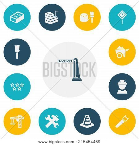 Set Of 13 Editable Building Icons. Includes Symbols Such As Hacksaw, Renovation, Five Starlet And More