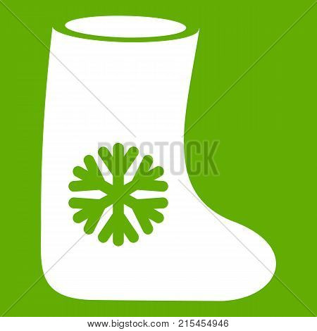 Felt boots icon white isolated on green background. Vector illustration