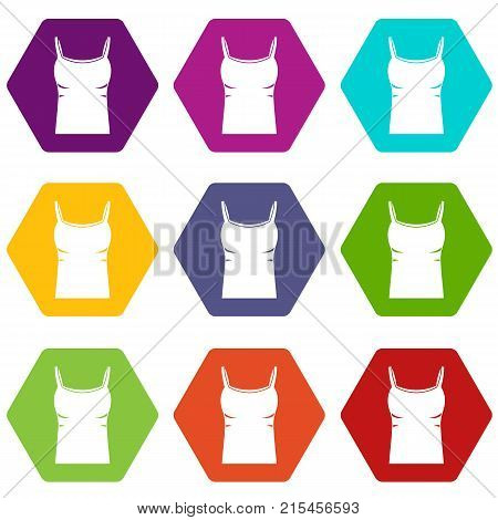 Blank women tank top icon set many color hexahedron isolated on white vector illustration