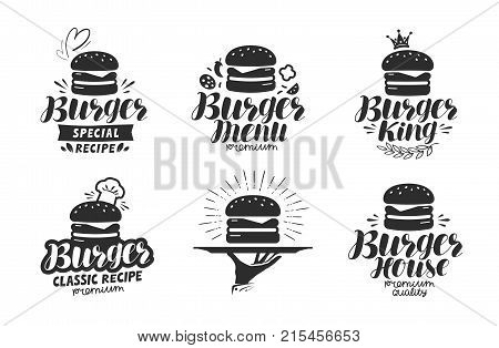 Burger, fast food logo or icon, emblem. Label for menu design restaurant or cafe. Lettering vector illustration isolated on white background