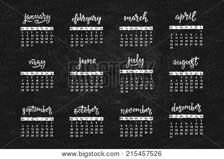 Vector calendar for month 2 0 1 8. Hand drawn lettering name of month for calendar design vector illustration