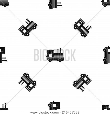 Locomotive pattern repeat seamless in black color for any design. Vector geometric illustration