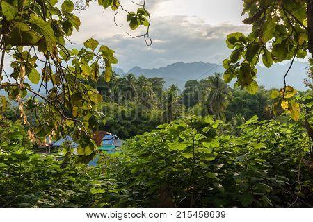 Kanchanaburi typical countryside landscape at Say Yok Noi waterfall, Thailand