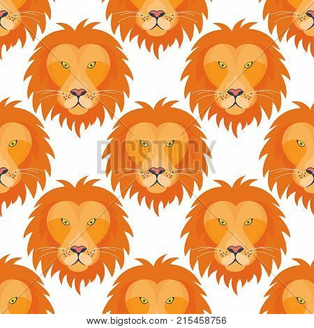 Tiger head seamless pattern background with beautiful animal. Vector hand drawn royal lion face illustration. Ancient guard ornate relief sculpture. Strength predator power wildcat.