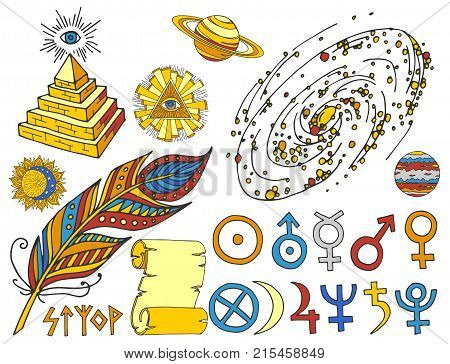 Trendy mystic and magic esoteric symbols sketch hand drawn. Religion philosophy spirituality occultism chemistry science magic esoteric symbols. Design tattoo element vector illustration.