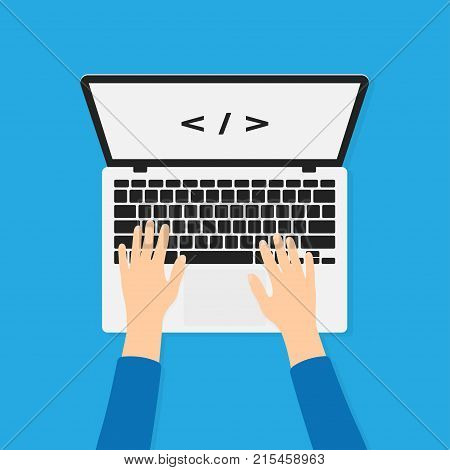 Developer programmer working with laptop and typing code. Programming and coding background concept. Hands on laptop in top view. Vector