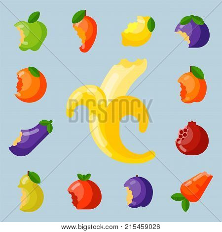 Color bitten fruit and vegetable set. Set of various doodle food flat icons. Agriculture delicious snack freshness dessert. Vitamin cut nutrition vector illustration.