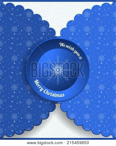 Vector greeting envelope with snowflakes patten and blue round label for Merry Christmas holiday.